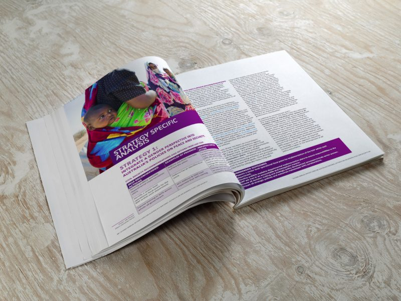 Blank opened brochure magazine on wooden background with soft shadows. Mock-up for graphic designers portfolios.